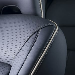 Part of  leather car seat with the unfocused car interior on the