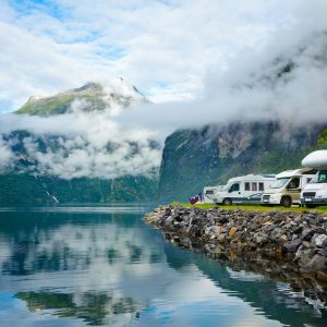 RV camping by a fjord in Norway